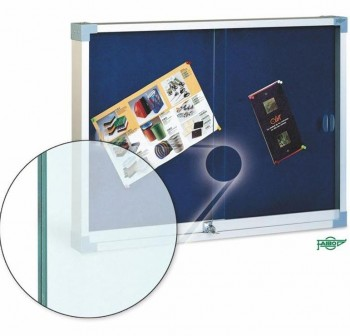 FAIBO Vitrina anuncios 90x120cm. tapizada en textil azul estructura aluminio pta.cristal, con llave