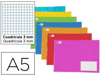 Libreta grapada A5 liderpapel 32h cuadricula 3mm colores surtidos