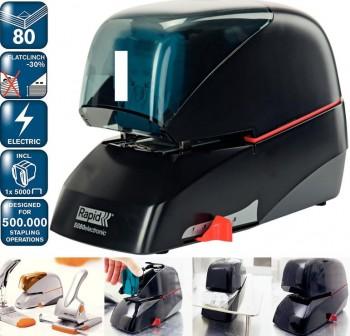 Grapadora eléctrica Rapid 5080E negra (80 hojas)
