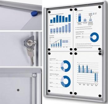 Vitrina económica interior con puerta abatible con cerradura de cilindro 4xA4 44x61,5cm