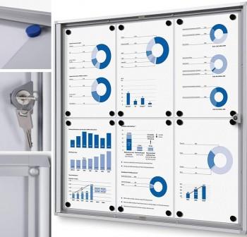 Vitrina económica interior con puerta abatible con cerradura de cilindro 6xA4 66x61,5cm
