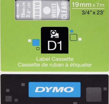 Cinta Dymo D1 19mmx7m blanco/transparente