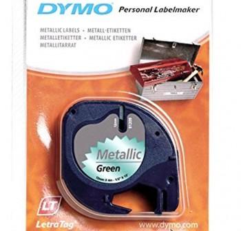 DYMO Cinta LetraTag 12x4 metalica VERDE 91209