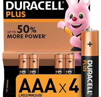 Blister 4 pilas Duracell Plus Power 1,5v LR03 AAA