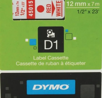 Cinta Dymo D1 12mmx7m rojo/blanco
