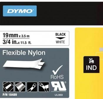 Cinta Dymo Rhinopro nylon 19mmx3,5m negro/blanco