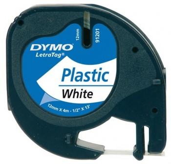 DYMO Cinta LetraTag 12x4 plastica BLANCO 91201