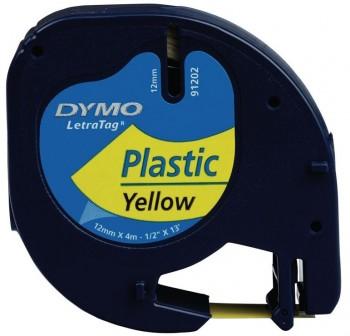 DYMO Cinta LetraTag 12x4 plastica AMARILLO 91202