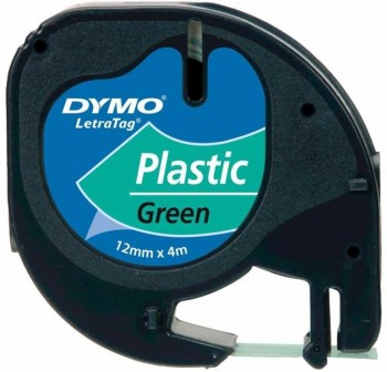 DYMO Cinta LetraTag 12x4 plastica VERDE 91204
