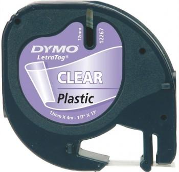 DYMO Cinta LetraTag 12x4 plastica TRANSPARENTE 12267