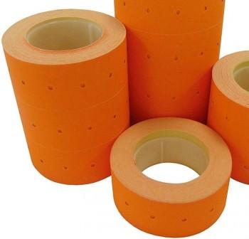 Pack 6 rollos 1000 etiquetas permanentes 21X12mm naranja fluorescente