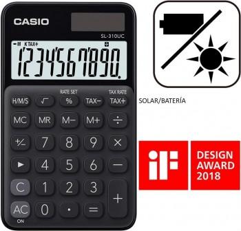Casio Calculadora de bolsillo My Color Casio SL-310UC-BK negro, 10 dígitos, alimentación solar.