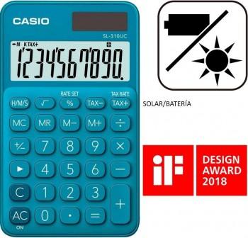 Casio Calculadora de bolsillo My Color Casio SL-310UC-BU azul, 10 dígitos, alimentación solar.