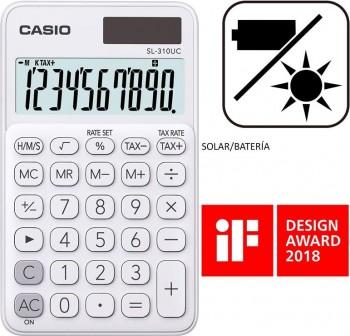 Casio Calculadora de bolsillo My Color Casio SL-310UC-WE blanca, 10 dígitos, alimentación solar.