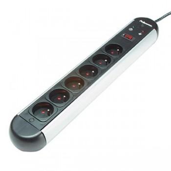Protector 6 tomas + línea telefónica 730 julios cable 2m