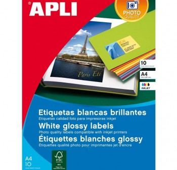 APLI Etiqueta para inkjet / laser / copy adhesiva en calidad glossy 10hojas