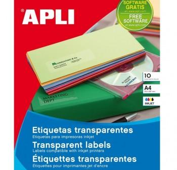 APLI Etiqueta inkjet / laser / copy poliester transparente en A4