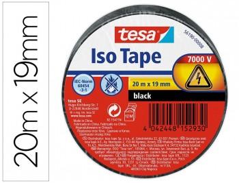 Cinta aislante TESA PVC 20m x19mm. NEGRO