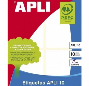 APLI Etiqueta adhesiva blanca para escritura manual de 10hojas