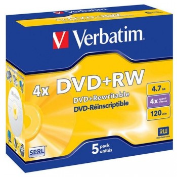 Verbatim Caja 5u DVD+RW 4x 43229 regrabable