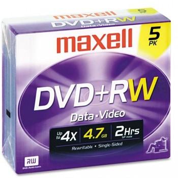 Pack 5 DVD+Rw Maxell 4,7gb Caja jewell