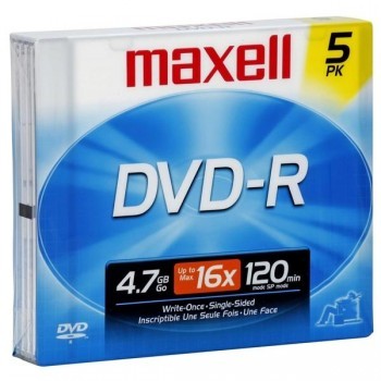 Pack 5 DVD-RW Maxell 4,7gb Caja jewell