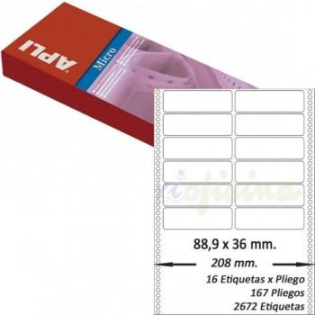 Pack 2672 etiquetas matricial 88'9x36mm salida 2 etiq