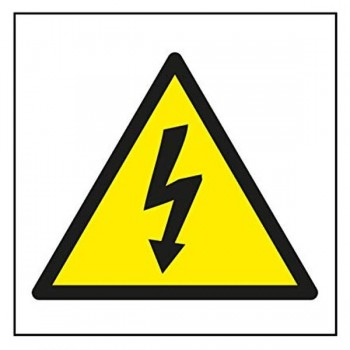 Señal adhesiva riesgo eléctrico 11,4x11,4cm