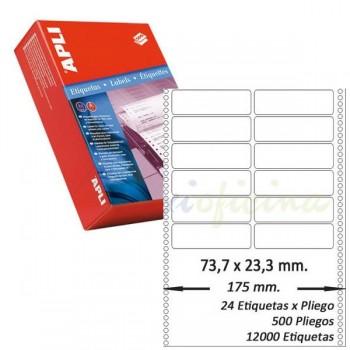 Pack 12000 etiquetas matricial 73,7x23'3mm salida 2 etiq