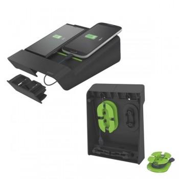Duocargador Leitz universal con dos puertos usb y 2 carretes de cable Leitz Complet color negro