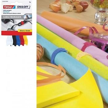Tira Tesa pequeña para agrupar cables 20cm x 12mm, 5 colores