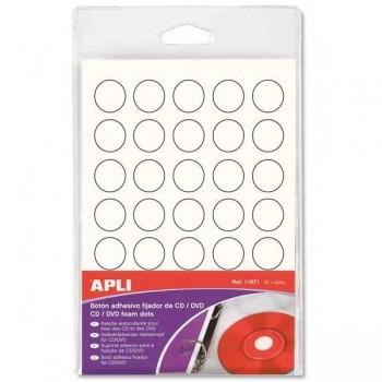 APLI Boton adhesivo blanco porta CD/DVD
