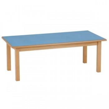 Mesa rectangular con patas cuadraras de madera de haya maciza de 40 mm 120x60x52 cm T2