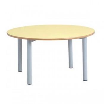 Mesa rectangular con patas metálicas redondas de 50 mm 120x60x52 cm T2