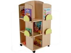 Torre expositor de libros fabricada en melamina de haya de 19 mm 57x57x119 cm