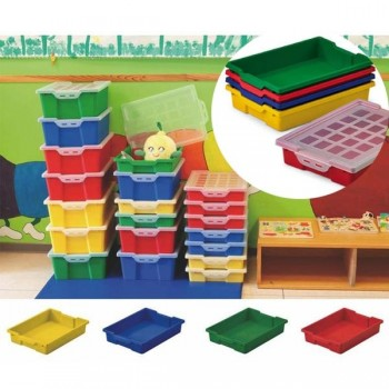 Cajón verde para muebles y almacenaje sin tapa, capacidad 6l 42x31x7,3 cm