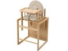 Trona convertible en conjunto de silla y mesa en madera, asiento y respaldo PU recubierto