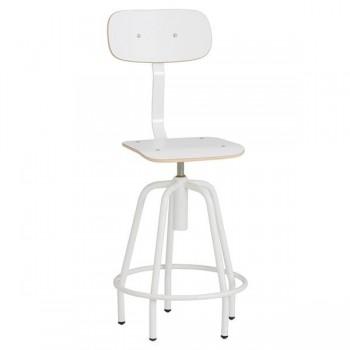 Taburete giratorio, asiento y respaldo recubierto con laminado de alta presión, elevación hata 10 cm