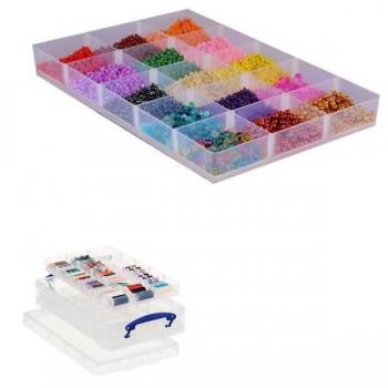 Caja almacenaje Really Useful boxes 4 l con 2 bandejas interiores de 15 compartimentos cada una colo