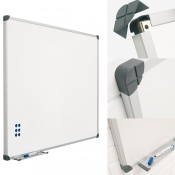 Pizarra blanca mural acero vitrificado 40X60cm Rotulador, papel e imanes