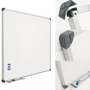 Pizarra blanca mural acero vitrificado 100X150cm Rotulador, papel e imanes