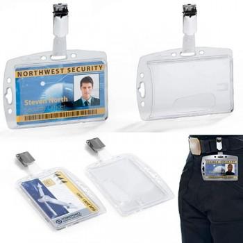 Caja 25 portanombres acrílicos pases seguridad 54x85mm transparente