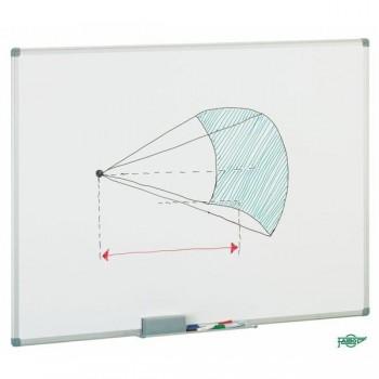 FAIBO Pizarra blanca 122x150 melamina marco de aluminio con cajetin de 40cm.