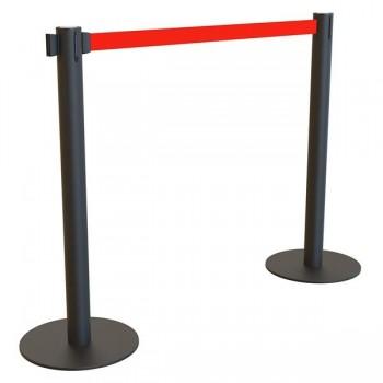 Pack 2 postes separador negro con cinta extensible 2m rojo