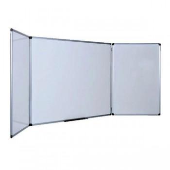 Pizarra tríptica blanca con superficie de acero vitrificado magnética 90x240cm (90x120cm CERRADA)
