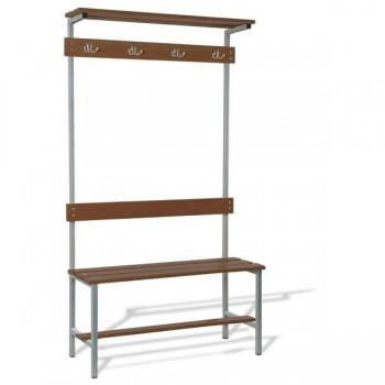 Taquigrup Banco de vestuario simple de madera con estructura de acero pintado 100x178x37 cm