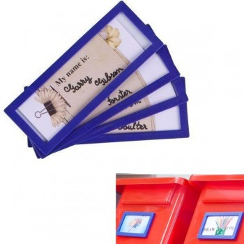 Tarifold Pack 4 marcos de identificación dorso adhesivo permanente 80x45mm azul