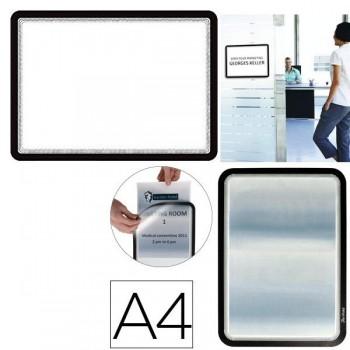 Tarifold Pack 2 marcos porta anuncios dorso adhesivo A4 negro