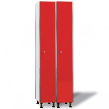 Taquigrup Taquilla doble fenólica con perfil de aluminio 30+30 cm ancho con 1 puerta de altura