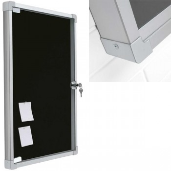 Vitrina fondo corcho tapizado1 puerta llave vertical 38x50cm negro